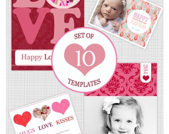 INSTANT DOWNLOAD. 10 PSD Valentine photo card templates. Mini Pack 26.