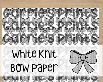 Printable | Large White Knit Bow Pattern |