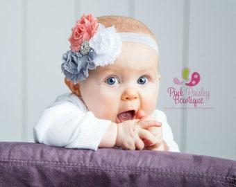 Baby Headbands - Triple Shabby Chic Headband - Infant Headbands - Baby Girl Headbands - Baby Hair Accessories - Toddler Headbands