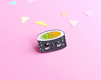 CLEARANCE SALE Sushi pin, Sushi enamel lapel pin, soft enamel pin, kawaii pins, cute badges, food pins, kawaii sushi