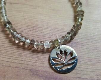 Smokey Quartz Bracelet in Sterling Silver with a Lotus Charm