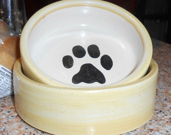 Paw Print Bowl in Yellow (Small)