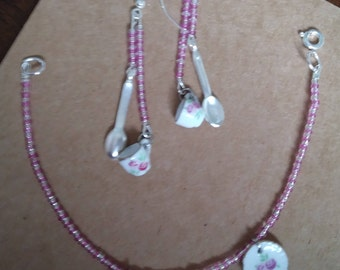 Pink Tea Set Bracelet and Earrings