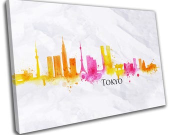 Watercolour Tokyo Skyline Cityscape Canvas Print Home Decor- Abstract Wall Art - Modern Prints - Ready To Hang