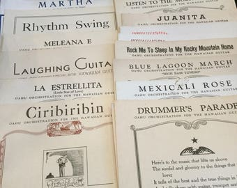 Vintage Hawaiian Guitar Sheet Music