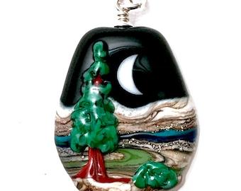 Ever Green - Handmade Lampwork Glass Bead Pendant w Sterling Silver - Moon & Evergreen Tree Landscape