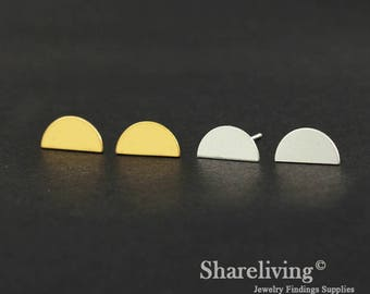 4pcs (2 Pairs) Silver, Golden Semicircle Stud Earring, Nickel Free, High Quality Brass Earring Post - ED409