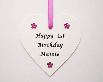 Personalised 1st birthday gift, present, first birthday, 1st birthday keepsake, gift for girl, gift for boy, birthday plaque, pink, blue