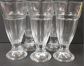 5 Vintage  Ice Cream / Dessert Pressed Glasses.  - Made in France
