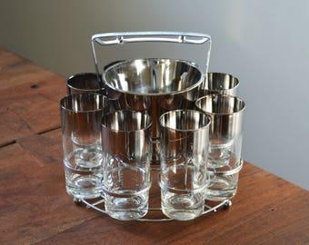Vintage Silver ombre barware set, Vitreon Queen's Lustreware; caddy, ice bucket and 8 tumblers, Mercury Fade; Silver Ombre - Mad Men