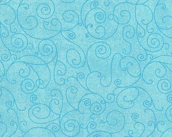 Aqua Swirl on Blue Quilt Backing Fabric 280cm Wide Sold per 1/2 Metre
