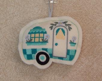 Camper Stuffie Cream-Teal - Camper Stuffie Ornament - Camper Felt Ornament - Camping Ornament - Camper Decor- Travel Trailer Decor