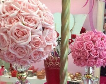 Kissing Ball Rose Pomander Tall Centerpiece Weddings Choose size and color