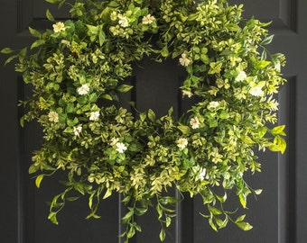 Boxwood Wreath with White Tea Leaf Flowers | Display Wreath Year Round | Farmhouse Wreath | Everyday Wreath | Front Door Wreaths