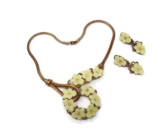 TRIFARI Alfred Philippe Yellow Glass Forget Me Not Necklace & Matching Earrings