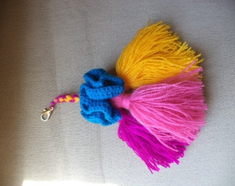 BAG CHARM. COLORFUL.Key Chain embelishment. Pom Pom Charm. Tassel Charm. Tassel Handbag Charm. Tassel Embelishment.