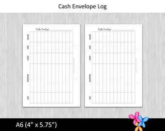 A6: Cash Envelope Log • Budget Binder Printable Page Insert for A6 sized Disc or Ring Bound Planners • INSTANT DOWNLOAD