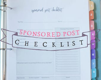 Sponsored Post Checklist - Blog Planning Sheet - Blog Planner