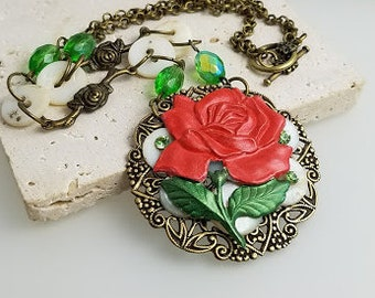 Red Rose Necklace, Rose Necklace, Red Necklace