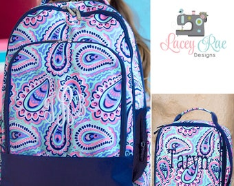 Girls sophie Personalized Backpack, Lunchbox, and pencil pouch, preschool backpack, Monogrammed, School Age Backpack, Paisley purple