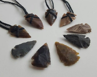 Arrowhead Necklace Hemp Stone Wrap- Tribal/ Boho/Native American/ Gift for him/Mens Necklace/ Surfer Jewelry