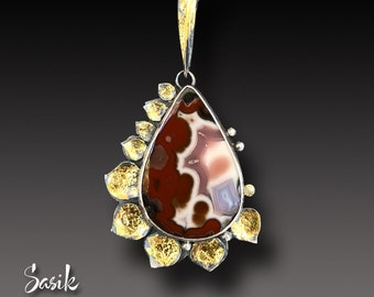 Old Stock Aqua Nueva  Agate Sterling Silver and Keum Boo Gold Pendant