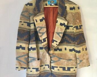 tribal southwest print blazer by Maurizio Ramani, neutral colors, lined blazer 1980s-1990s