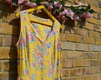 Vintage Sleeveless Yellow Floral Sun Dress