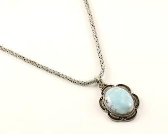 Vintage Floral Design Blue Larimar Necklace 925 Sterling Silver NC 453