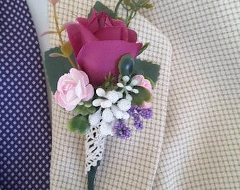 Purple boutonniere,  Purple wedding,  Rustic wedding,  Vintage boutonniere