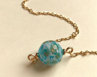 Minimalist Blue Necklace, Gold filled, Turquoise dotted Hollow bead, Figure 8 Chain, OOAK Beautiful Gift for Her, under 40