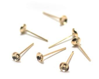 100 4mm, Gold ear Stud brackets
