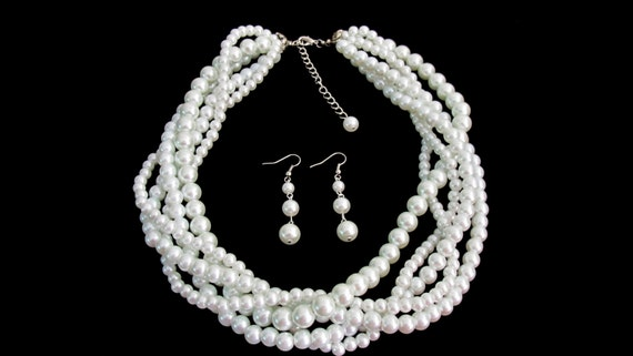 White Pearl 5 Strand Necklace Bridal Jewelry Five 5 Strand Pearl Statement Necklace For Bridesmaid