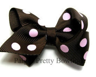 """2.25"""" Brown & Light Pink Polka Dot Boutique Hair Bow-Toddler Hair Bow-Baby Hair Bow-Alligator Clip"""