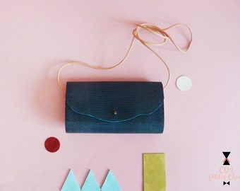Minaudière in blue and wood lezard leather