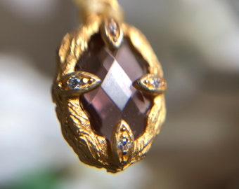 Tourmaline and 24K Gold Vermeil Charm with Gold Silk Necklace