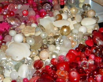 NEW 8 oz/ lot  Pink/ White /Red  Mixed Loose lot of Beads Random sizes 6-20mm Glass, shell, lampwork, stone and gem
