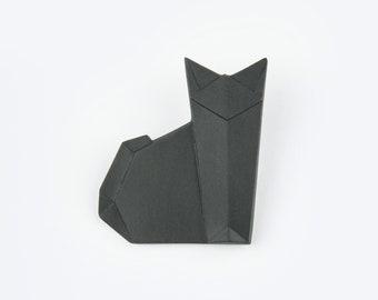 PORCELAIN  BROOCH CAT/Black porcelain/Porcelain origami/Origami pin/Origami brooch/Porcelain pin/Japaneese origami/Origami cat