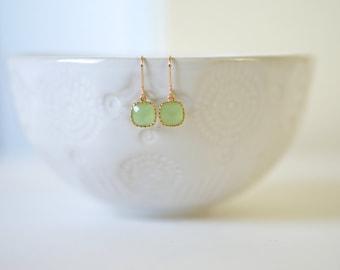 Light Green Peridot and Gold Earrings | Bridesmaid Earrings | Wedding Jewelry