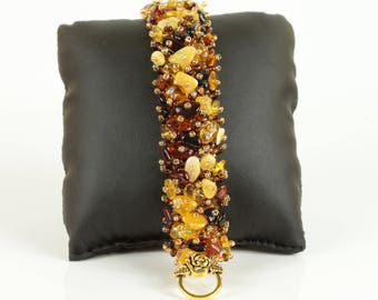 Natural Baltic Amber Bracelet, Genuine Amber Handmade, Baltic Sea Amber