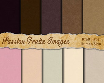 Human Flesh Tones Construction Paper-- ten sheet digital paper pack-- Instant Download