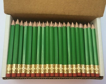 48 Green - Mini short half Hexagon Golf #2 Pencils with erasers Pre-Sharpened Made In the USA - Non Toxic Latex Free Express PencilsTM