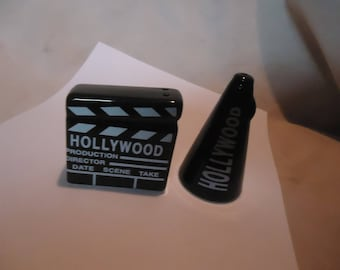 Vintage Hollywood Megaphone & Clapboard Set Of Salt and Pepper Shakers, Have Stoppers, collectable