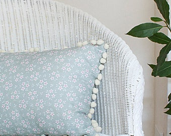 Sage Green Ditsy Floral Linen Union Cushion with Cream Pom Pom Trim