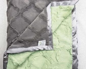 Minky Blanket, baby Blanket, sage green, baby girl, green and grey, soft blanket, thyme hide blanket, Grey blanket, adult minky, baby boy