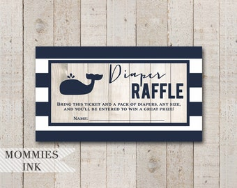 Whale Diaper Raffle Ticket, Navy and White Diaper Raffle, Printable Raffle Ticket, Baby Shower Raffle, Shower Printable, Whale Raffle