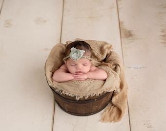 Sage Green  Flower Halo Headband, Newborn Tieback, Baby Halo, Newborn Photo Prop, Halo Headband, Newborn Halo, Sage Green Halo, Baby Tieback
