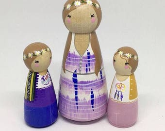 Custom Peg Doll Family of 3 - 1 Adult & 2 Kids