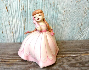 Porcelain Bisque Holland Mold Girl in a Pink Dress with Flower, Southern Belle Cotillion, Strawberry Blond Pigtails