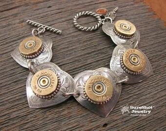 Southwestern - Cowgirl - Western Jewelry - Bullet Jewelry - Southwest Style 28 Gauge Heart Link Bracelet - Turquoise Jewelry